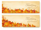 Two Thanksgiving Holiday Banners with colorful leaves and autumn vegetables Vector. - 232884939