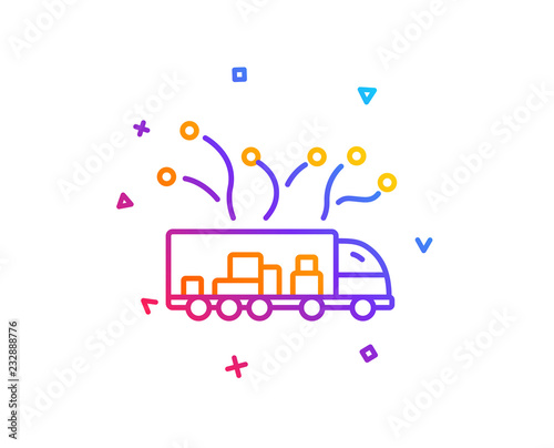Wall mural Truck transport line icon. Transportation vehicle sign. Delivery logistics symbol. Gradient line button. Truck delivery icon design. Colorful geometric shapes. Vector