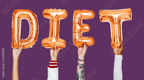 Leinwanddruck Bild Hands showing diet balloons word