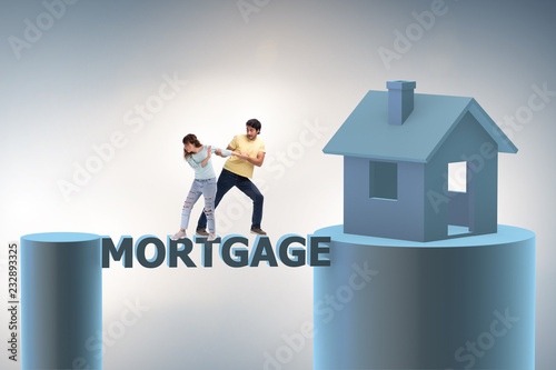 Leinwandbild Motiv Concept of family taking mortgage loan for house