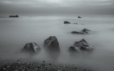 Long exposure, rocks by the sea