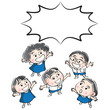 happy school kids cartoon vector - 232898174