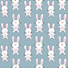 Childish pattern with rabbit animal faces. Creative nursery background. Perfect for kids design, fabric, wrapping, wallpaper, textile, apparel