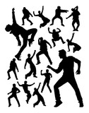 Energetic modern dancer activity silhouettes. Good use for symbol, logo, web icon, mascot, sign, or any design you want.