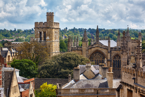 The New college chapel and bell tower. Oxford University. England.