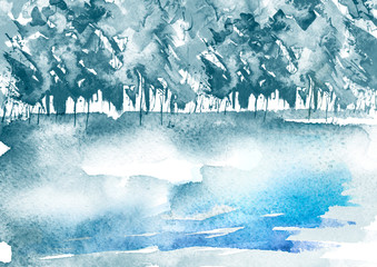 Watercolor wood. Blue silhouette, landscape, trees and bushes.  Watercolor winter forest. Watercolor abstract background, blue paint splash.