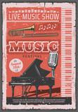 Music concert festival, retro vector - 232906186