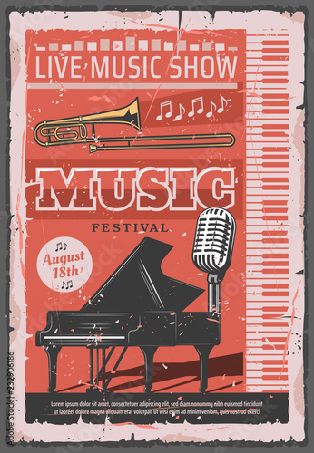 Music concert festival, retro vector