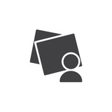 Post it notes and man avatar vector icon. filled flat sign for mobile concept and web design. User Online Post simple solid icon. Symbol, logo illustration. Pixel perfect vector graphics - 232908786