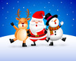 Funny Christmas Characters design on snow background, Santa Claus, Snowman and Reindeer. Merry Christmas and Happy new year concept. Illustration isolated on blue background.
