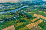 Russia, a typical rural settlement. Evening shot from the air - 232914724
