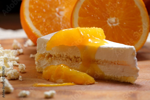 Wall mural tender cottage cheese casserole with slices of orange