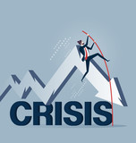 Businessman pole vaulting over crisis in business concept - 232916763