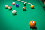 Billiard balls on pool green table - 232921138