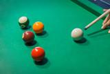 Billiard balls on pool green table - 232921139