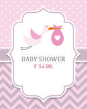 Baby shower card. Stork with baby girl