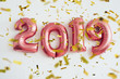 Balloons 2019 confetti Christmas and new year celebration