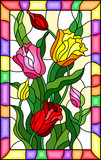 Illustration in stained glass style with a bouquet of  tulips on a yellow background in bright frame - 232924559