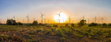 Panorama view of wind turbine farm in beautiful nature with sunset background, generating electricity in Nakorn Ratchasima Thailand