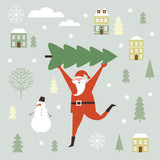 Santa Claus carry big Christmas tree. Greeting card. Merry Christmas and Happy New Year , flat vector illustration