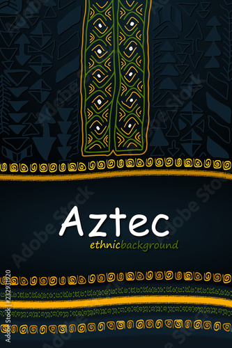 Aztec or African Hand-Drawn Ethnic Background. Abstract Tribal Vector Pattern. Vertical Orientation
