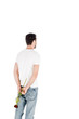 Back view of man in white t-shirts with red rose behind the back isolated on white