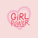 Vector illustration in simple style with hand-lettering phrase girl power - 232948704