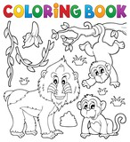 Coloring book monkey theme 4 - 232952189