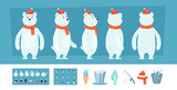 Polar bear animation. White wild animal body parts and different faces vector character creation kit. Illustration of bear animation, face look - 232959569