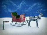 3D rendering of a north pole sign and reindeer with sleigh. - 232959790