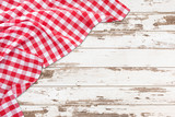 Vintage white wooden table with red checkered tablecloth. Top view mockup. - 232962313