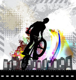 Silhouette of bicycle jumper