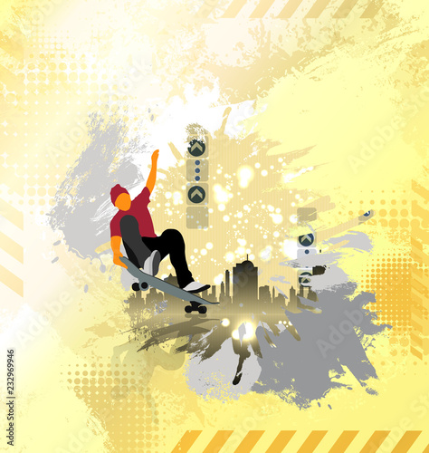 Poster Young male skateboarder. Healthy lifestyle.