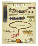 Ancient detailed collection of african tribal ethnic collars from the West and North coast of Dutch New Guinea, isolated elements. By F.S.A. De Clercq and J.D.E. Schmeltz Leiden 1893 New Guinea - 232972942