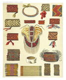 Ancient detailed ethnic collection of african tribal on fabric decorations, coast of Dutch New Guinea, isolated elements. By F.S.A. De Clercq and J.D.E. Schmeltz Leiden 1893 New Guinea - 232972949