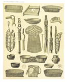 Ancient detailed ethnic collection of african baskets and bowls, coast of Dutch New Guinea, isolated elements. By F.S.A. De Clercq and J.D.E. Schmeltz Leiden 1893 New Guinea - 232973103
