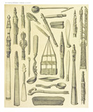 Ancient detailed ethnic collection of african wooden tools, coast of Dutch New Guinea, isolated elements. By F.S.A. De Clercq and J.D.E. Schmeltz Leiden 1893 New Guinea - 232973116