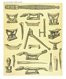 Ancient detailed ethnic collection of african decorated wooden statues, coast of Dutch New Guinea, isolated elements. By F.S.A. De Clercq and J.D.E. Schmeltz Leiden 1893 New Guinea - 232973178