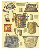 Ancient detailed ethnic collection of african decorated bags, coast of Dutch New Guinea, isolated elements. By F.S.A. De Clercq and J.D.E. Schmeltz Leiden 1893 New Guinea - 232973192