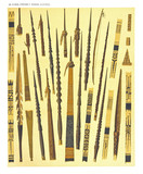 Ancient detailed ethnic collection of african decorated spears, coast of Dutch New Guinea, isolated elements. By F.S.A. De Clercq and J.D.E. Schmeltz Leiden 1893 New Guinea - 232973309