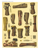Ancient detailed ethnic collection of african drums and percussion, coast of Dutch New Guinea, isolated elements. By F.S.A. De Clercq and J.D.E. Schmeltz Leiden 1893 New Guinea - 232973332