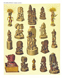 Ancient detailed ethnic collection of african idols wooden statues, coast of Dutch New Guinea, isolated elements. By F.S.A. De Clercq and J.D.E. Schmeltz Leiden 1893 New Guinea - 232973360