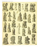 Ancient detailed ethnic collection of african idols wooden statues, coast of Dutch New Guinea, isolated elements. By F.S.A. De Clercq and J.D.E. Schmeltz Leiden 1893 New Guinea - 232973361