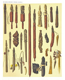 Ancient detailed ethnic collection of african sticks wooden decorated, coast of Dutch New Guinea, isolated elements. By F.S.A. De Clercq and J.D.E. Schmeltz Leiden 1893 New Guinea - 232973396