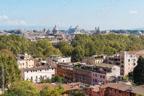 Powietrzny panoramiczny pejzaż Rzymu, dachy domów.
