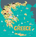 Illustration map of Greece with nature, animals and landmarks. Editable Vector illustration - 232985529