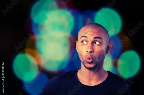 Leinwandbild Motiv Portrait of handsome young man with facial expression on