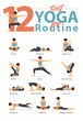 Set of yoga postures female figures for Infographic 12 Yoga poses for routine workout in flat design. Woman figures exercise in blue sportswear and black yoga pants. Vector Illustration.
