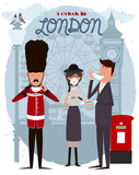 Cute illustration of London street and characters. 5 o'clock in London, Tea time card. Editable vector illustration