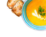 Colorful and juicy pumpkin cream soup illustration with roasted croutons. Drawing alcohol markers of delicious food. Corner composition with free space for your text. - 232997352